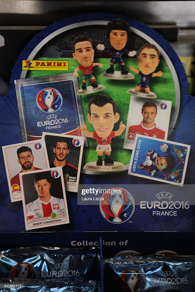Euro 2016 Football stickers are displayed the day after the Brexit referendum on June 25, 2016 in the town of Nola near Naples, Italy. The results from the historic EU referendum has been declared and the United Kingdom has voted to leave the European Union.