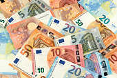 many euro bank note currency finance background