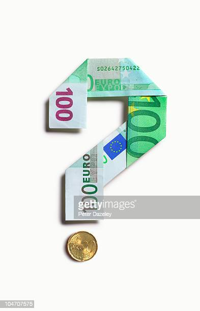 100 euro bank note question mark