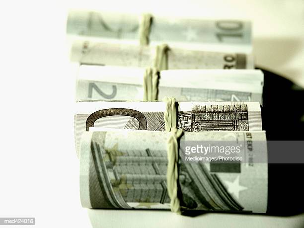 Euro bank notes bound with rubber band