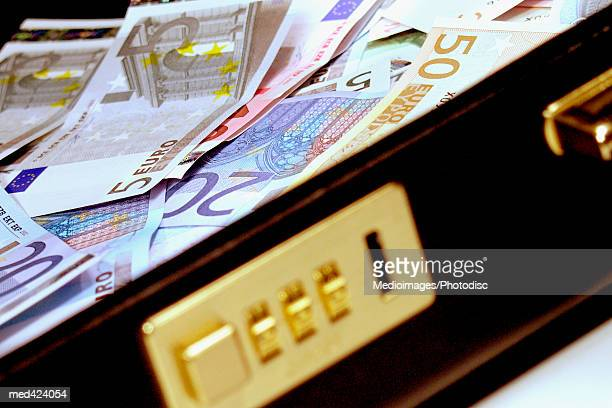 Euro bank notes in a briefcase