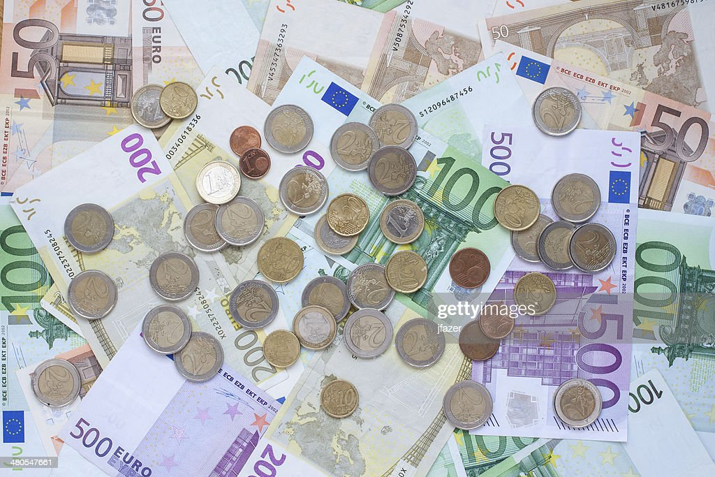 Euro Banknotes and coins : Stock Photo