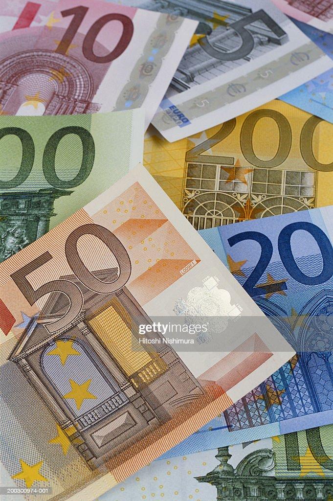 Euro banknotes, close-up : Stock Photo