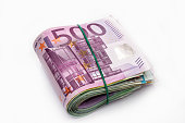 Euro banknotes in bundle isolated on white