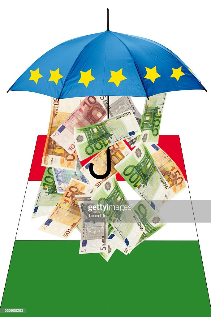 Euro banknotes under umbrella with italian flag : Stock Photo