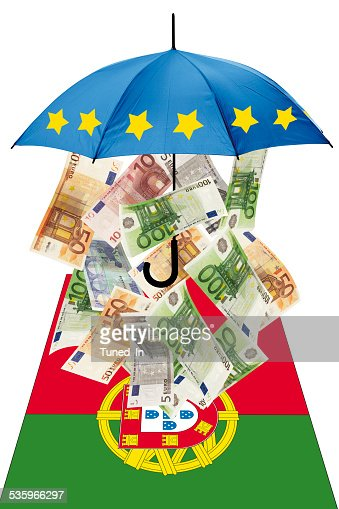 Euro banknotes under umbrella with portuguese flag : Stock Photo