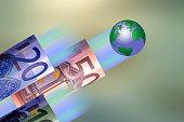 Euro Bills and Globe