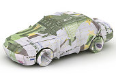 Euro Car. Money origami. Car made from Euro