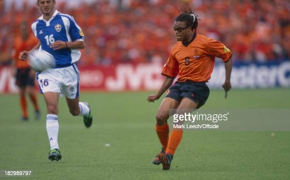 Euro Championships 2000 Netherlands v Yugoslavia Edgar Davids of the Netherlands prepares to take the ball down while Dejan Govedarica of Yugoslavia...