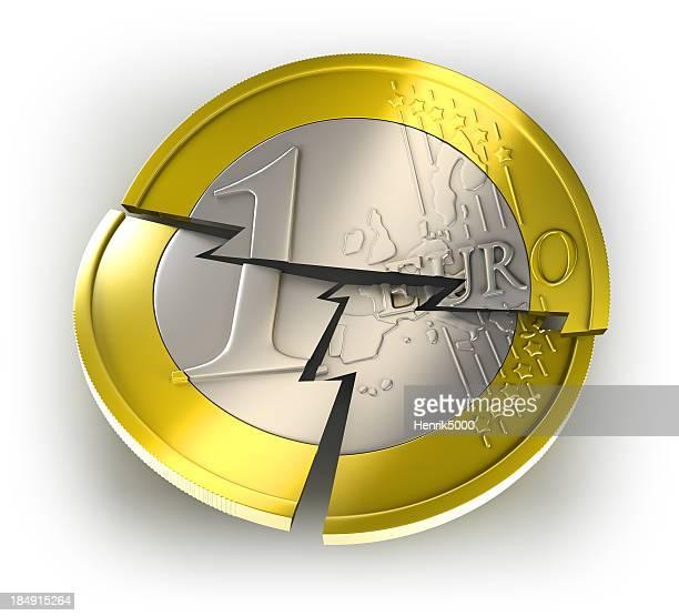 Euro Münze aufstellen, isoliert mit clipping path