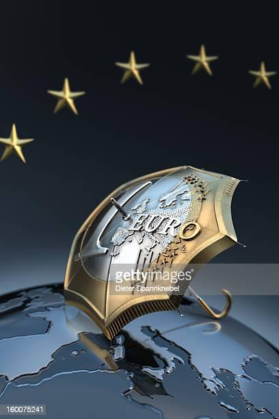 Euro coin designed umbrella on a globe with europe