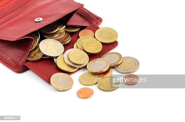 Euro monete cadere fuori il portafoglio