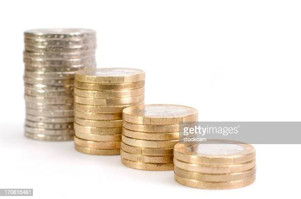 Euro Münze Grafik mit colums auf Weiß