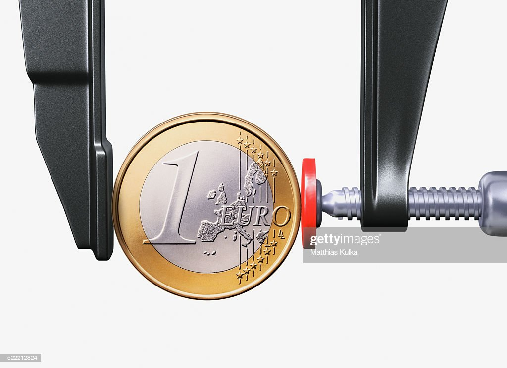 Euro Coin in Vise