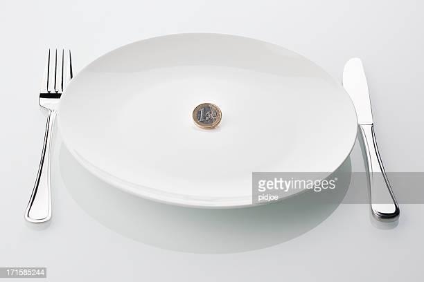 euro-Münze auf leere weiße Platte, symbol für die Krise