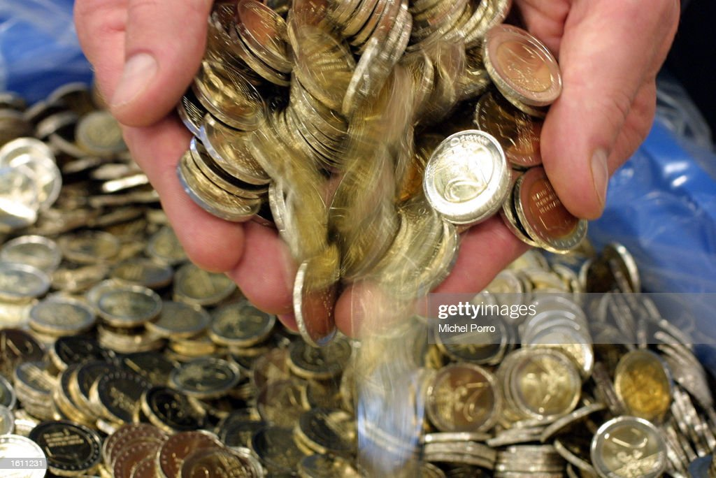 Euro coins are readied for distribution August 28 2001 in the Netherlands Bank depot in Lelystad Holland The first of some 28 billion Dutch coins...