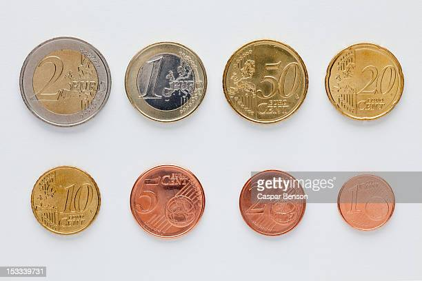 Euro coins arranged in numerical order, front view