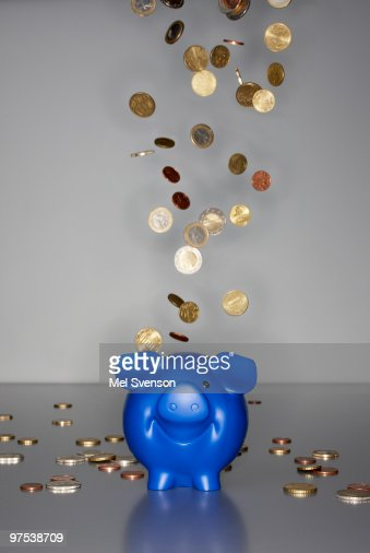 Euro coins falling down on blue piggy bank : Stock Photo