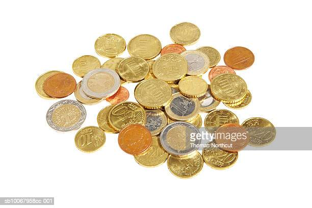 Euro coins on white background