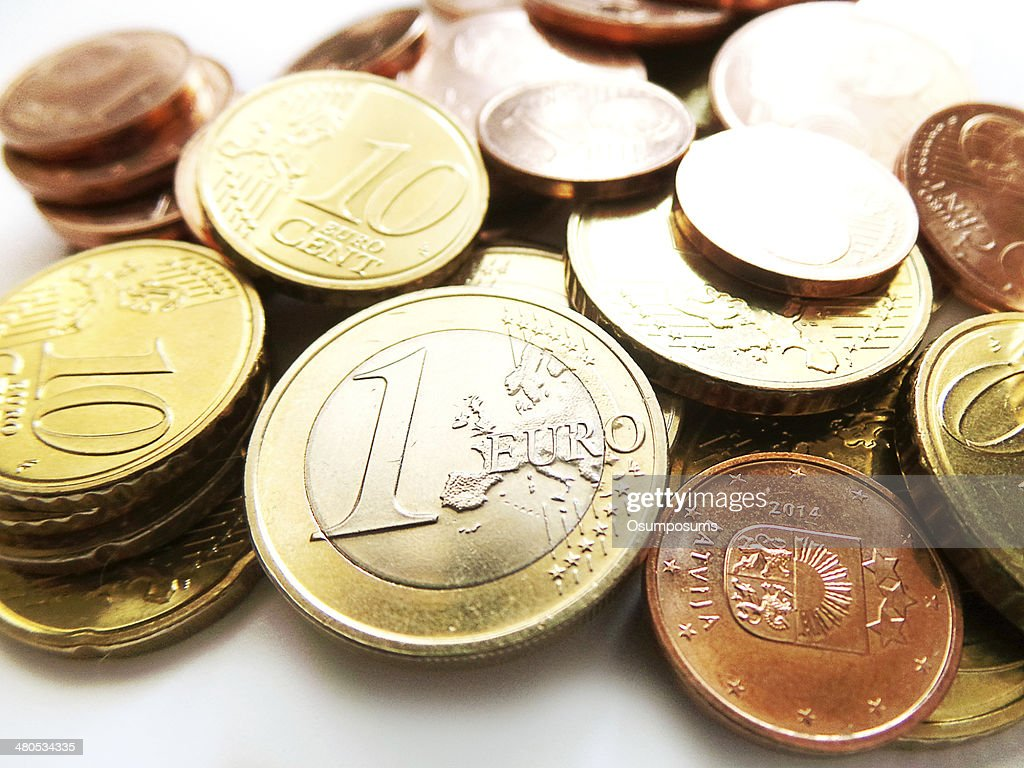 Euro coins - one euro and cents : Stock Photo