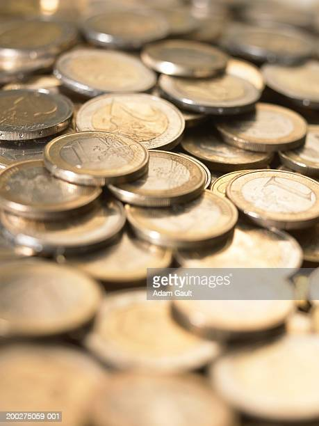 Euro Currency: 1 and 2 euro coins, full frame