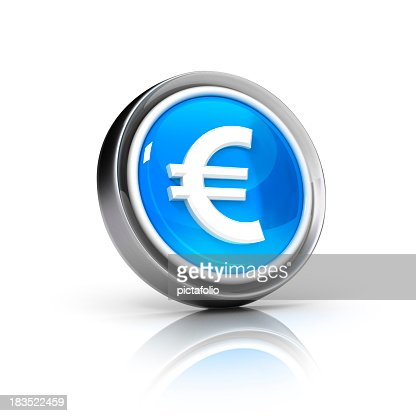 Euro currency icon with grey border and blue core