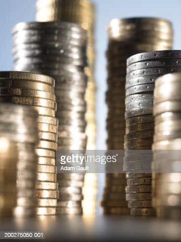 Euro Currency: Stacked coins at varying heights, close-up