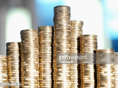 Euro Currency:  Stacked one Euro coins, close-up : Stockfoto