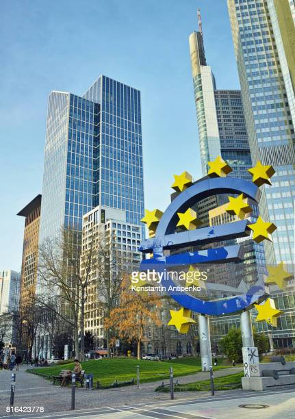 Euro Currency symbol in Frankfurt Financial District
