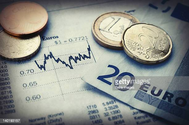 Euro currency with financial graph, studio shot