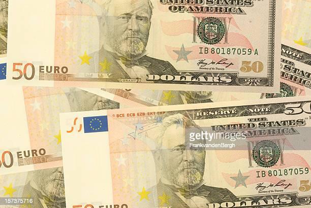 Euro Dollar merged banknotes