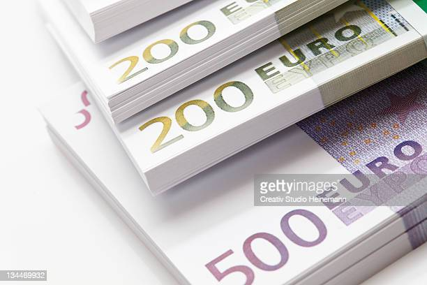 Euro notes in bundles, 200s, 500s