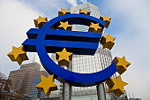 Euro sign and EZB European Central Bank Tower.