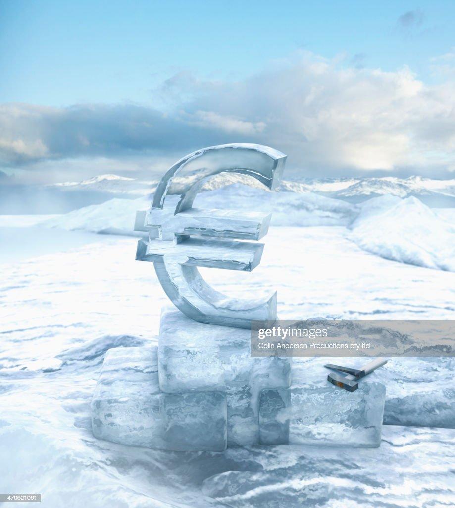 Euro sign in glacial ocean