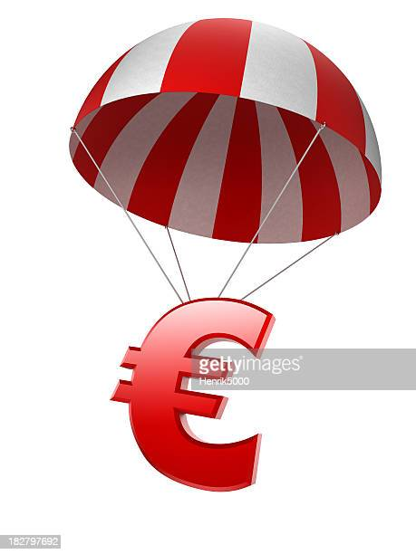 Euro sign in parachute - isolated with clipping path