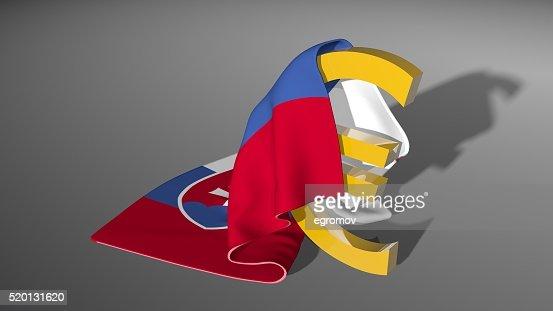 Euro Sign Money Symbol Under Slovakia Flag Stock Photo Thinkstock