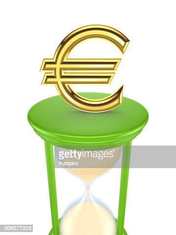 Euro sign on a green sand glass. : Stock Photo