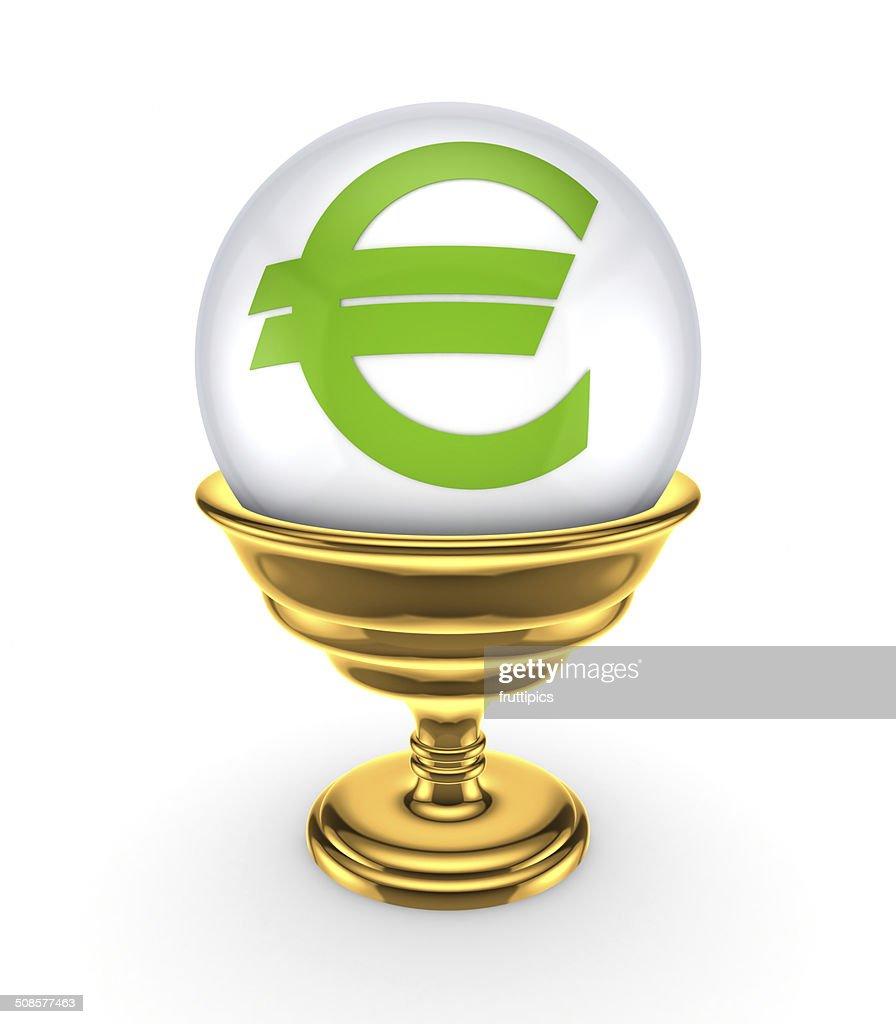 Euro sign on a white sphere. : Stockfoto