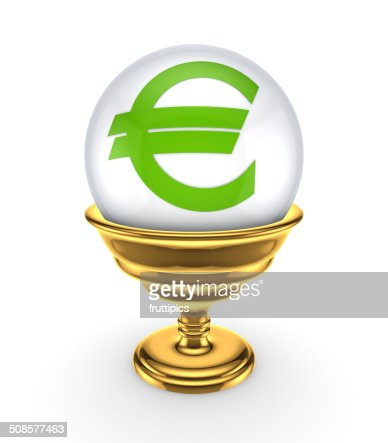 Euro sign on a white sphere. : Stock Photo