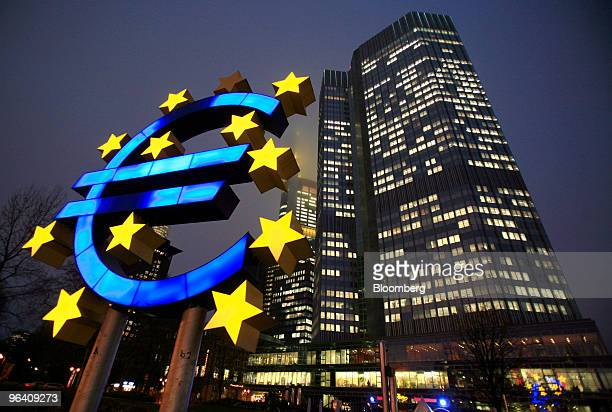 A Euro sign sculpture is seen in front of the European Central Bank headquarters in Frankfurt Germany on Wednesday Feb 3 2010 European Central Bank...