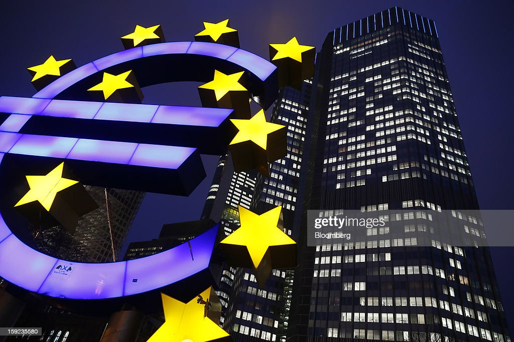 A euro sign sculpture stands outside the European Central Bank (ECB) headquarters in Frankfurt, Germany, on Wednesday, Jan. 9, 2013. German two-year notes declined, pushing yields to the highest in 11 weeks, after European Central Bank President Mario Draghi said the decision to leave the key interest rate at 0.75 percent was 'unanimous.' Photographer: Ralph Orlowski/Bloomberg via Getty Images