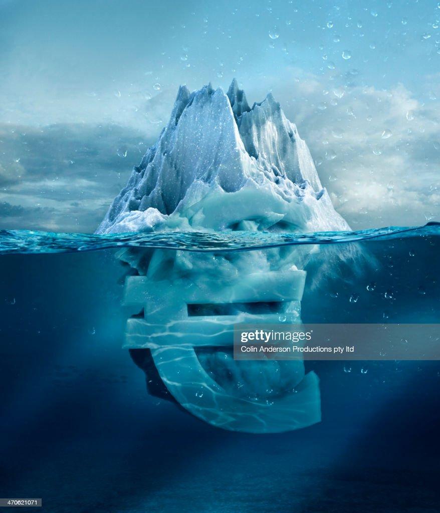 Euro sign under floating glacier