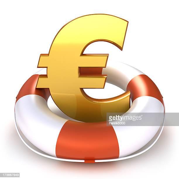 Euro-symbol mit Rettungsring zu-isoliert mit clipping path