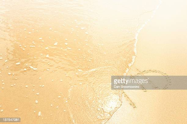 Euro symbol in sand washed away by waves