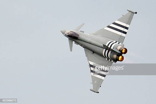 Eurofighter Typhoon performs during the Royal International Air Tattoo at RAF Fairford on July 12 2014 in Fairford England The Royal International...