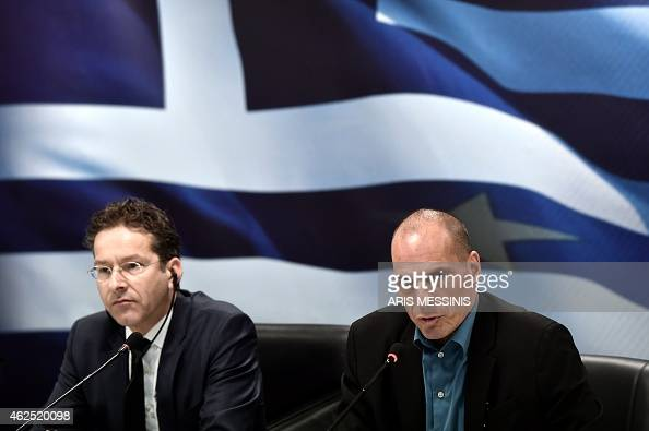 Eurogroup chairman Jeroen Dijsselbloem and Greek Finance Minister Yanis Varoufakis give a press conference after their meeting in Athens on January...