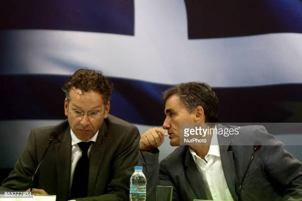 Eurogroup chief Jeroen Dijsselbloem and Greek Finance Minister Euclid Tsakalotos during a joint press conference at the Finance Ministry after their...