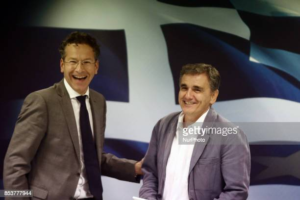 Eurogroup chief Jeroen Dijsselbloem and Greek Finance Minister Euclid Tsakalotos after a joint press conference at the Finance Ministry after their...