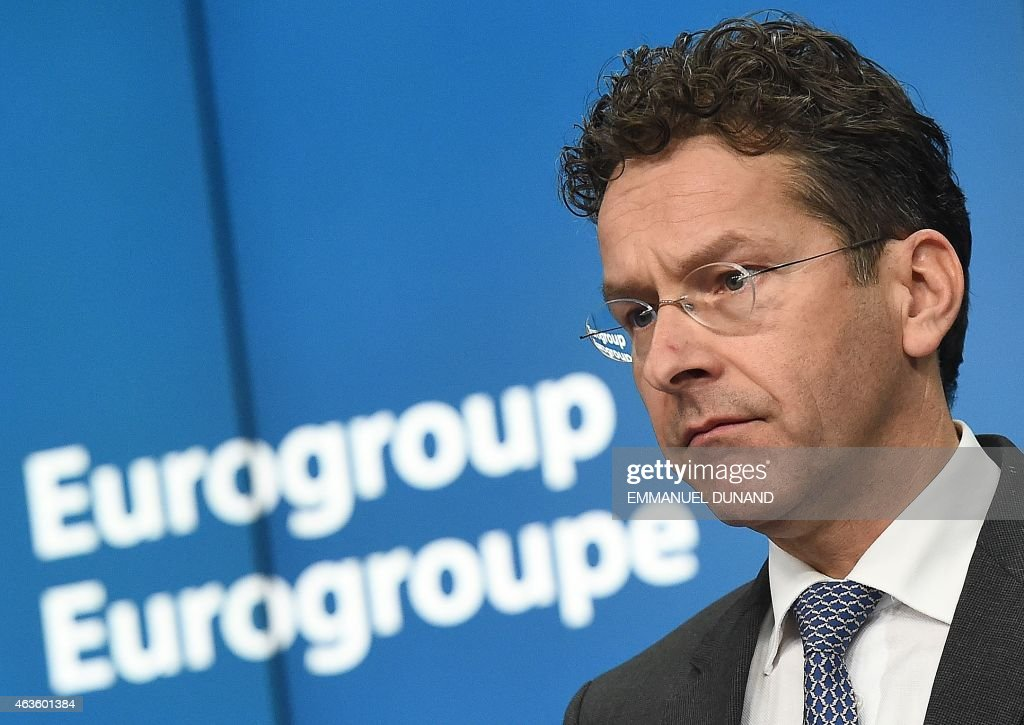 Eurogroup President and Dutch Finance Minister <a gi-track='captionPersonalityLinkClicked' href=/galleries/search?phrase=Jeroen+Dijsselbloem&family=editorial&specificpeople=9751962 ng-click='$event.stopPropagation()'>Jeroen Dijsselbloem</a> gives a press conference on February 16, 2015 at the end of an Eurogroup finance ministers meeting at the European Council in Brussels.