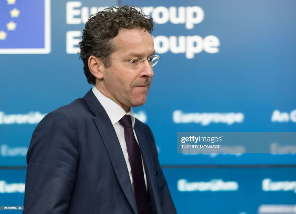 Eurogroup President and Dutch Finance Minister Jeroen Dijsselbloem arrives to address a press conference following a meeting of Eurogroup ministers at the European Council headquarters in Brussels on February 11, 2016. / AFP / THIERRY MONASSE